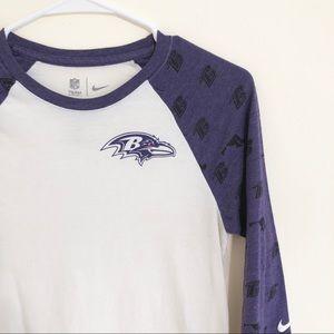 Nike Baltimore Ravens Baseball Tee Sz S